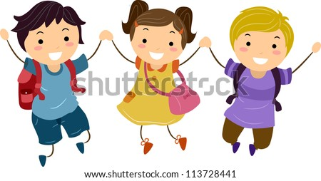 Illustration of Kids Jumping Together With Hands Clasped - stock vector