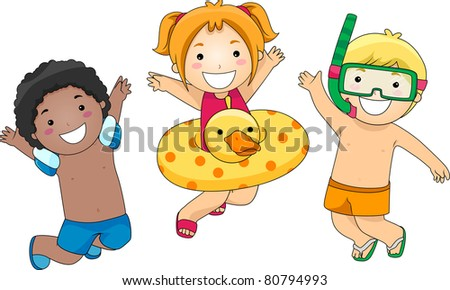 Illustration of Kids Jumping with Glee - stock vector