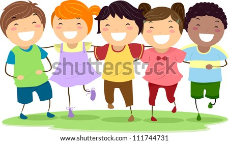 Illustration of Kids Laughing Together While Walking Side by Side - stock vector
