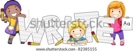 Illustration of Kids Learning How to Write - stock vector