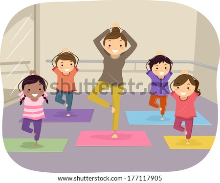 Illustration of Kids Learning Yoga Through the Help of an Instructor - stock vector