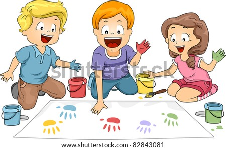 Illustration of Kids Leaving Hand Prints on a Board - stock vector