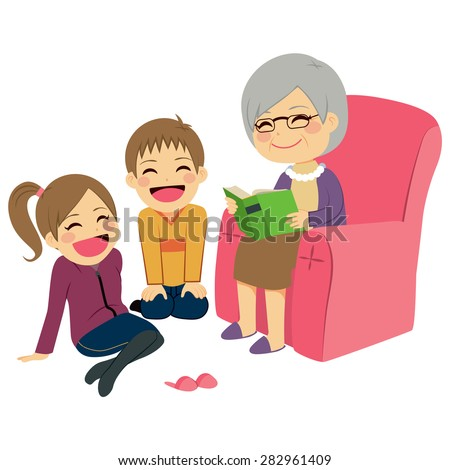 Illustration of kids listening their grandmother reading a story - stock vector