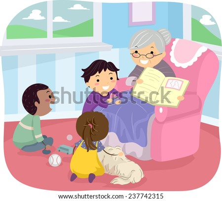 Illustration of Kids Listening to Their Grandmother Tell a Story - stock vector