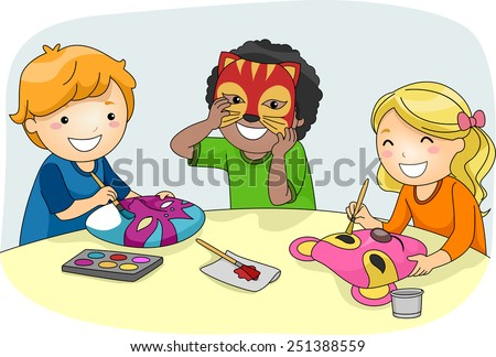 Illustration of Kids Making Colorful Party Masks - stock vector