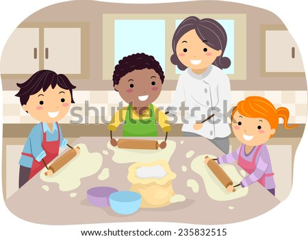 Illustration of Kids Making Homemade Pizza Under the Guidance of a Chef - stock vector