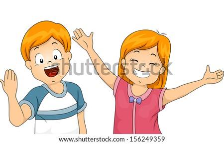 Illustration of Kids Offering a Big Welcome Hug - stock vector