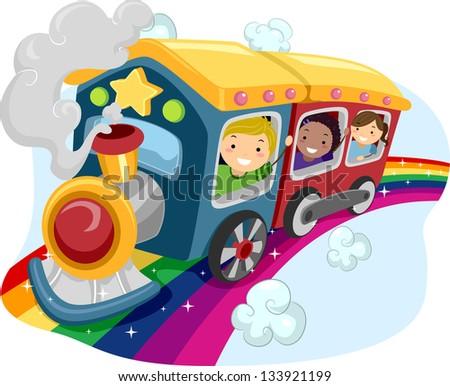 Illustration of Kids on a Rainbow Train - stock vector