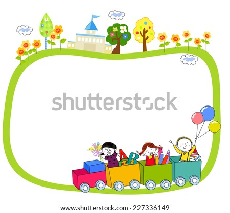 Illustration of Kids on a Train and Frame - stock vector