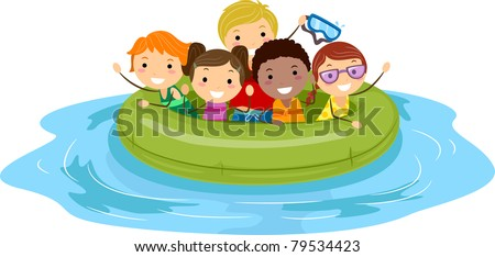 Illustration of Kids on an Inflatable Boat - stock vector