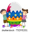 Illustration of Kids Painting a Large Egg - stock vector