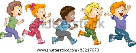 Illustration of Kids Participating in a Marathon - stock vector