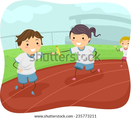 Illustration of Kids Participating in a Relay Race - stock vector
