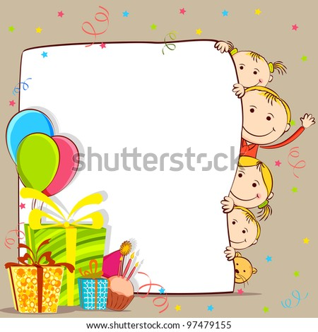 illustration of kids peeping behind birthday card with gift and balloon - stock vector