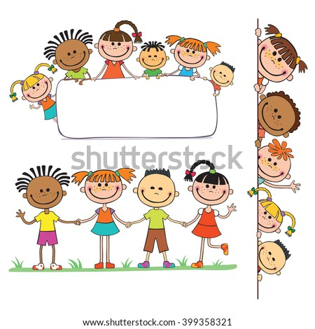 illustration of kids peeping behind placard children together vector, pupil, decoration, fun, copy, boy, blank, concept, vector, happiness, friendship, celebration, isolated, child  - stock vector