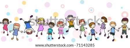 Illustration of Kids Performing Different Stunts - stock vector