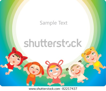 Illustration of kids play animals frame - stock vector