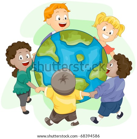 Illustration of Kids Playing Around a Huge Globe - stock vector