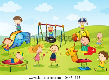 Illustration of kids playing at the park - stock vector