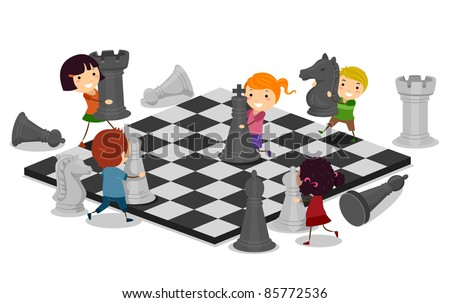 Illustration of Kids Playing Chess - stock vector