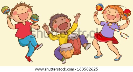 Illustration of Kids Playing Ethnic Musical instruments . Children illustration for School books, magazines, advertising and more. Separate Objects. VECTOR. - stock vector