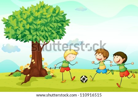 illustration of kids playing football in a nature - stock vector