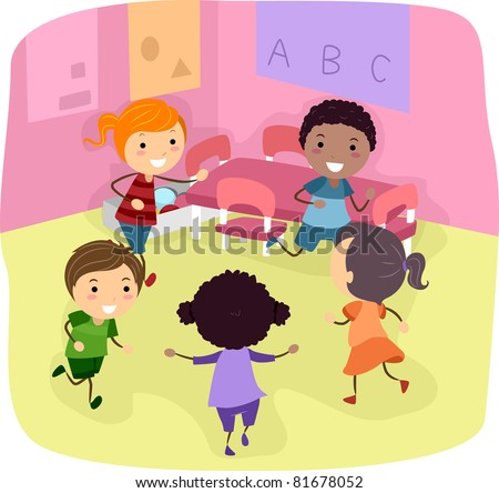 Illustration of Kids Playing in a Classroom - stock vector