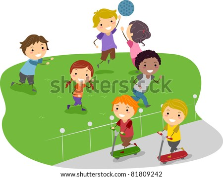 Illustration of Kids Playing in a Park - stock vector