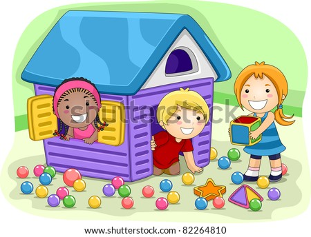 Illustration of Kids Playing in a Playhouse - stock vector