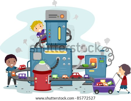 Illustration of Kids Playing in a Toy Car Factory - stock vector