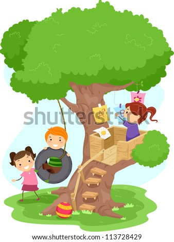 Illustration of Kids Playing in a Treehouse - stock vector