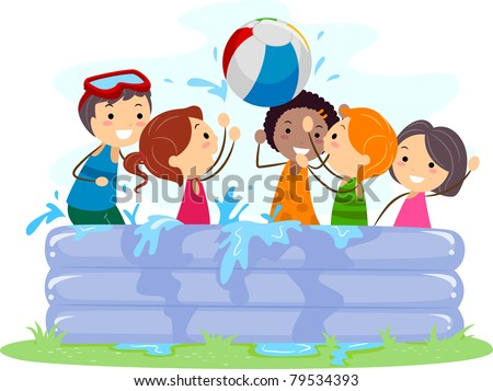 Illustration of Kids Playing in an Inflatable Pool - stock vector