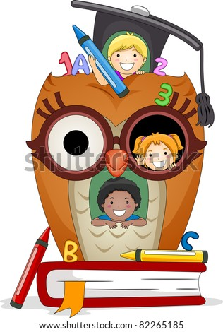 Illustration of Kids Playing in an Owl House - stock vector