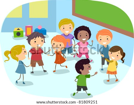Illustration of Kids Playing in the Classroom - stock vector