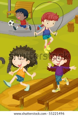 Illustration of kids playing on a ground - stock vector