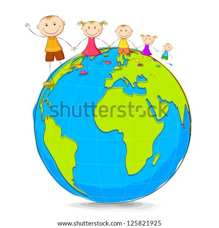 illustration of kids playing on globe holding hand - stock vector