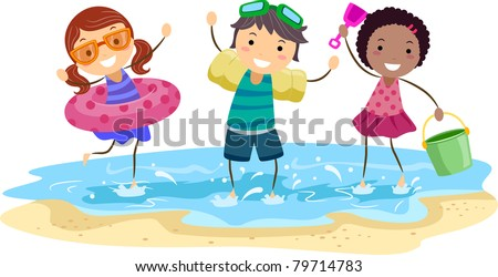 Illustration of Kids Playing on the Beach - stock vector