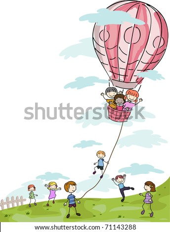 Illustration of Kids Playing with a Hot Air Balloon - stock vector