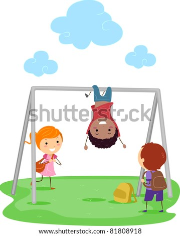 Illustration of Kids Playing with a Monkey Bar - stock vector