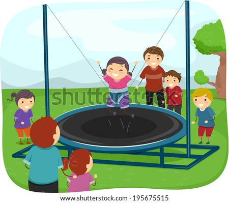 Illustration of Kids Playing with a Trampoline - stock vector