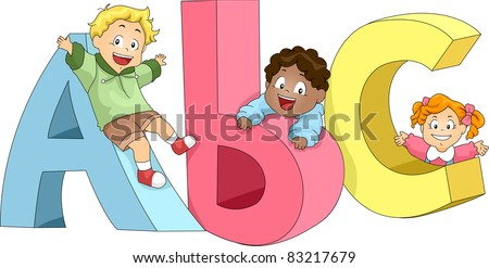 Illustration of Kids Playing with ABC's - stock vector