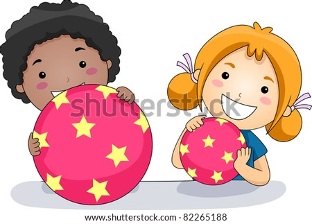 Illustration of Kids Playing with Balls - stock vector