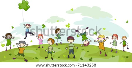 Illustration of Kids Playing with Clovers