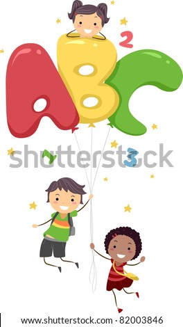 Illustration of Kids Playing with Letter-Shaped Balloons - stock vector