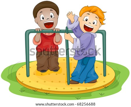 Illustration of Kids Playing with the Merry-go-Round - stock vector