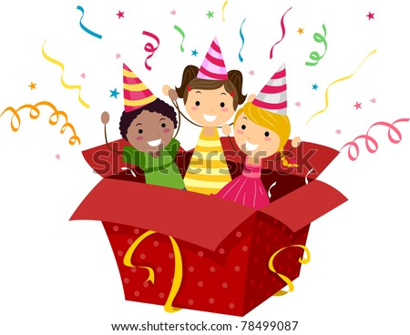 Illustration of Kids Popping Out of a Gift Box - stock vector