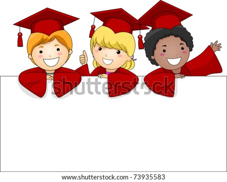 Illustration of Kids Posing Behing a Large Banner - stock vector
