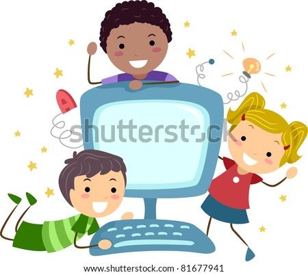 Illustration of Kids Posing with a Computer - stock vector