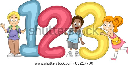 Illustration of Kids Posing with Numbers - stock vector
