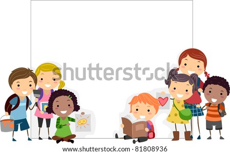 Illustration of Kids Presenting their Art Works - stock vector